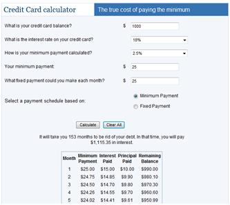 Calculator for Reducing Credit Card Debt